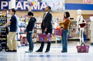 formar fila supermercado