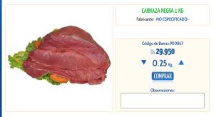 Carnaza negra, por kilo. Stock.
