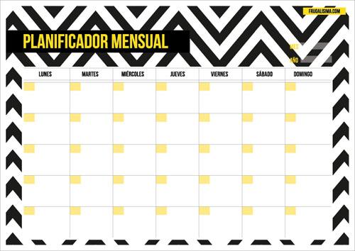 Planificador mensual imprimible - rayas